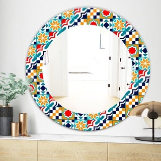 Designart Colorful Geometric Tiles Pattern Modern Mirror - Frameless Oval or Round Wall Mirror - Red (Round - 31.5 in. wide x 31.5 in. high)