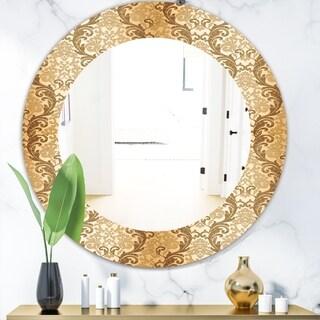 Designart 'Damask Pattern' Mid-Century Mirror - Frameless Oval or Round Wall Mirror - Gold