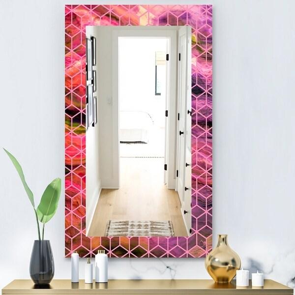 Designart 'Capital Gold Honeycomb 7' Modern Mirror - Frameless Wall Mirror - Purple