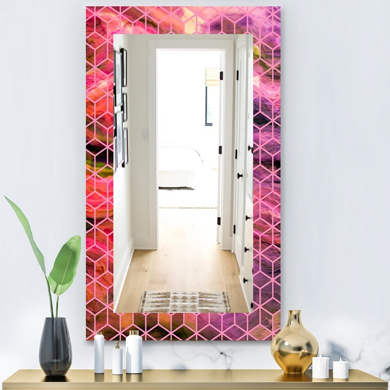 Designart Capital Gold Honeycomb 7 Modern Mirror - Frameless Wall Mirror - Purple (23.6 in. wide x 35.4 in. high)