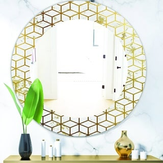 Designart 'Capital Gold Honeycomb 6' Modern Mirror - Frameless Oval or Round Wall Mirror