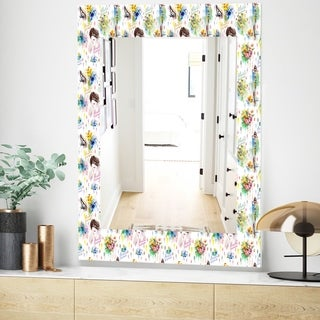 Designart Beauty and Fashion Pattern Modern Mirror - Frameless Wall Mirror - White (23.6 in. wide x 35.4 in. high)
