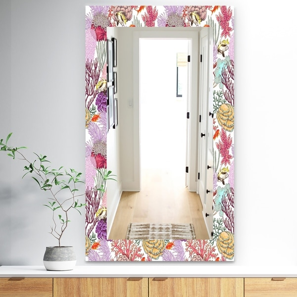 Designart 'Costal Creatures 8' Traditional Mirror - Frameless Wall Mirror - Pink