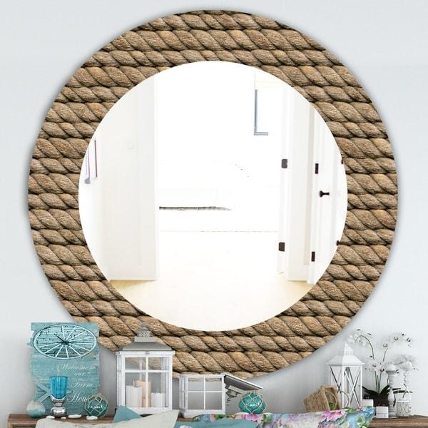 Designart 'Hemp Rope' Farmhouse Mirror - Frameless Oval or Round Wall Mirror - Brown