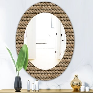 Designart Hemp Rope Farmhouse Mirror - Frameless Oval or Round Wall Mirror - Brown (Oval - 23.7 in. wide x 31.5 in. high)