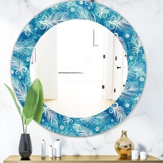 Designart 'Feathers 8' Modern Mirror - Frameless Oval or Round Wall Mirror - Blue