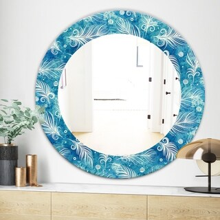 Designart Feathers 8 Modern Mirror - Frameless Oval or Round Wall Mirror - Blue (Round - 31.5 in. wide x 31.5 in. high)