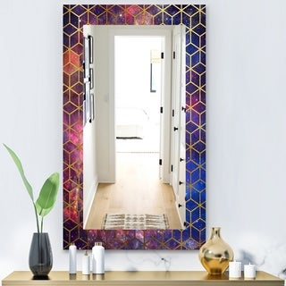 Designart 'Capital Gold Honeycomb 8' Modern Mirror - Frameless Vanity Mirror