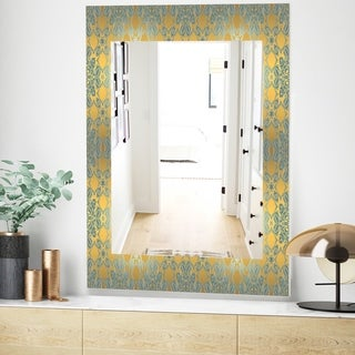 Designart Glam Flowers Decorative Glam Mirror - Frameless Vanity Mirror - Gold (23.6 in. wide x 35.4 in. high)