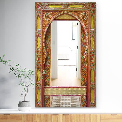 Designart 'Moroccan Entrance Door' Traditional Mirror - Large Wall Mirror - Multi