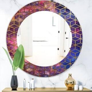 Designart 'Capital Gold Honeycomb 8' Modern Mirror - Frameless Oval or Round Wall Mirror