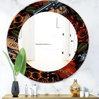 Designart 'Old School Tattoo Pattern' Modern Mirror - Frameless Oval or Round Wall Mirror - Red