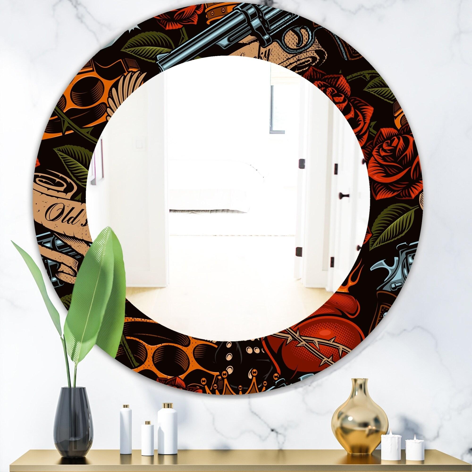 Designart Old School Tattoo Pattern Modern Mirror - Frameless Oval or Round Wall Mirror - Red (39.4 in. wide x 39.4 in. high - Round)