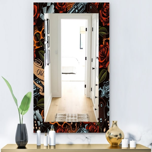 Designart 'Old School Tattoo Pattern' Modern Mirror - Frameless Wall Mirror - Red
