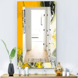 Designart 'Marbled Yellow 6' Modern Mirror - Frameless Vanity Mirror - Gold