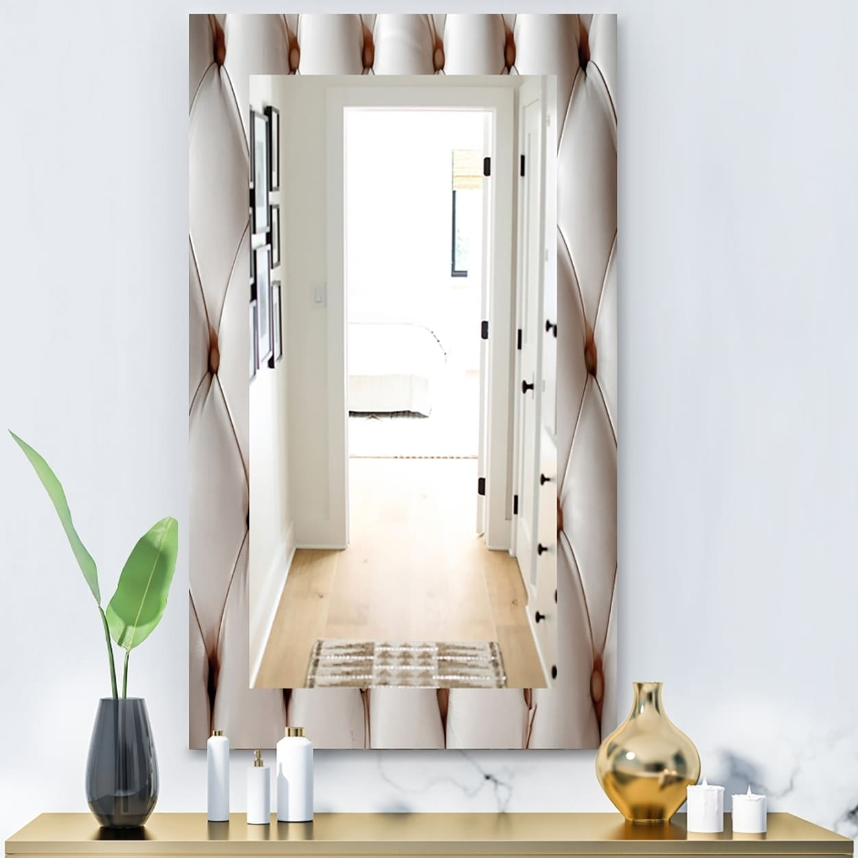 Designart Diamond Shaped Leather Couch Modern Mirror - Frameless Vanity Mirror - Multi (23.6 in. wide x 35.4 in. high)