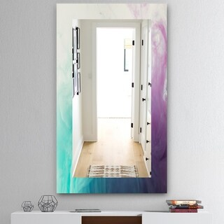 Designart 'Cyan Blue and Pink Water In Ink Composition' Mid-Century Mirror - Frameless Wall Mirror