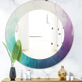 Designart Cyan Blue and Pink Water In Ink Composition Mid-Century Mirror - Frameless Oval or Round Wall Mirror (Round - 39.4 in. wide x 39.4 in.