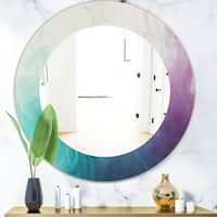 Designart 'Cyan Blue and Pink Water In Ink Composition' Mid-Century Mirror - Frameless Oval or Round Wall Mirror