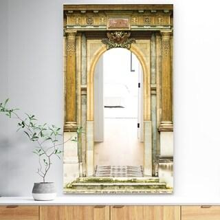 Porch & Den 'Old Wooden Paris Door' Brown Paris Print Mirror