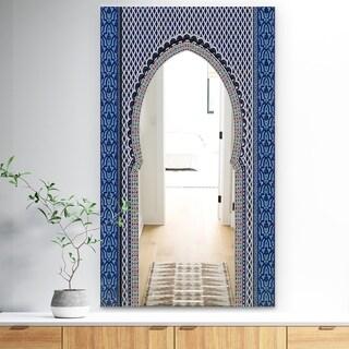 Designart 'Morroco Golden Doors' Traditional Mirror - Wall Mirror - Blue