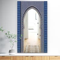 Designart 'Morroco Golden Doors' Traditional Mirror - Wall Mirror - Blue