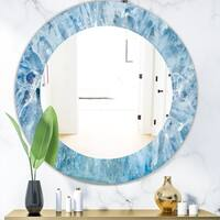 Silver Orchid Alba 'Geode Interior with Light Blue Crystals' Mid-century Mirror