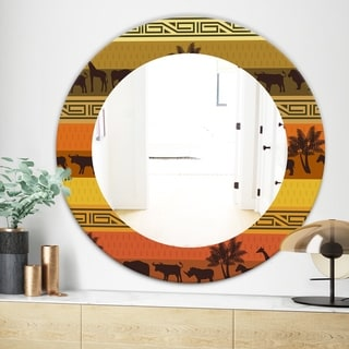 Designart African Wildlife Bohemian and Eclectic Mirror - Frameless Oval or Round Wall Mirror - Orange (31.5 in. wide x 31.5 in. high - Round)