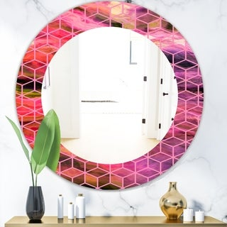 Designart 'Capital Gold Honeycomb 7' Modern Mirror - Frameless Oval or Round Wall Mirror - Purple