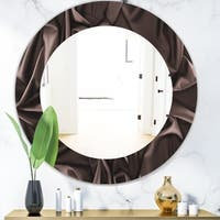 Designart 'Folded Dark Silk Waves' Modern Mirror - Frameless Oval or Round Wall Mirror - Brown
