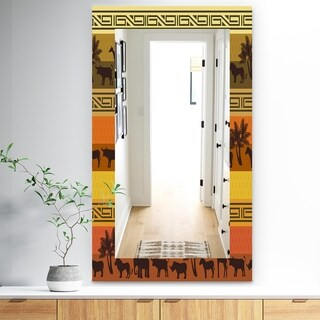 Designart 'African Wildlife' Bohemian and Eclectic Mirror - Frameless Wall Mirror - Orange