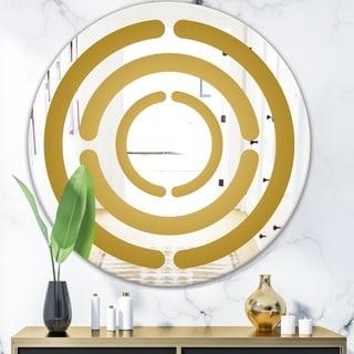 Designart 'Capital Gold Lively 10' Glam Mirror - Round Wall Mirror