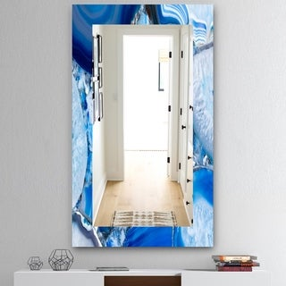 Designart 'Marbled Geode 11' Mid-Century Mirror - Frameless Wall Mirror - Blue