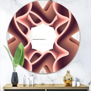 Designart 'Nebulous Waves 2' Mid-Century Mirror - Oval or Round Wall Mirror - Pink