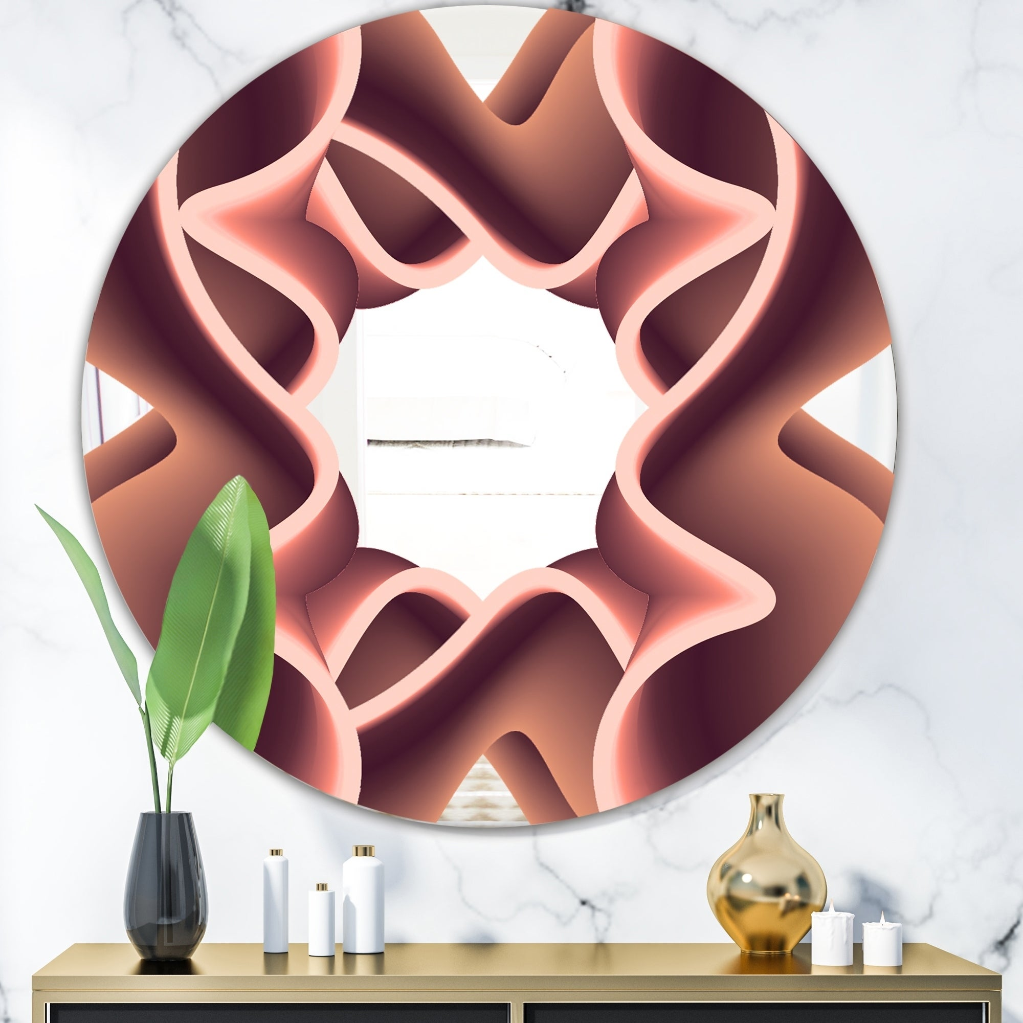 Designart Nebulous Waves 2 Pink Oval or Round Mid-Century Wall Mirror (Round - 39.4 in. wide x 39.4 in. high)