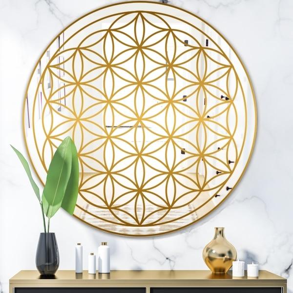Designart 'Capital Gold Lively 9' Glam Mirror - Round Decorative Mirror