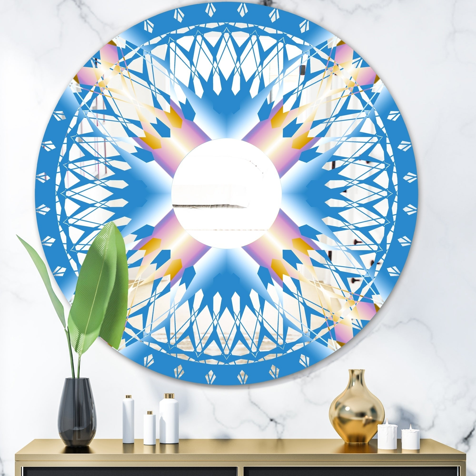 Designart Copper Spruce 1 Mid Century Mirror Oval And Circle Wall Mirror Blue Overstock 28022151