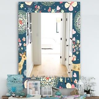 Designart Deer With Flowers and Hearts Antlers Traditional Mirror - Frameless Vanity Mirror - Blue (29.5 in. wide x 39.4 in. high)