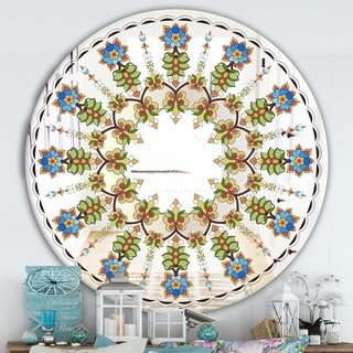 Designart 'Tiny Flower Pattern' Cabin and Lodge Mirror - Oval or Round Wall Mirror - Blue