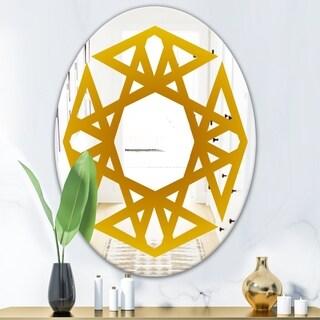 Designart Circular Web 1 Glam Mirror - Oval or Round Decorative Mirror - Gold (23.7 in. wide x 31.5 in. high - Oval)