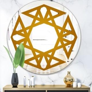 Designart 'Circular Web 1' Glam Mirror - Oval or Round Decorative Mirror - Gold
