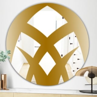 Designart Gold Symmetrical Abstract Glam Mirror - Oval or Round Wall Mirror - Gold (Round - 31.5 in. wide x 31.5 in. high)