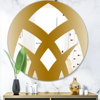 Designart 'Gold Symmetrical Abstract' Glam Mirror - Oval or Round Wall Mirror - Gold