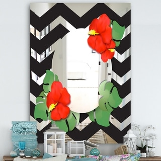 Designart 'Elementary Botanicals 2' Cabin and Lodge Mirror - Wall Mirror - Black