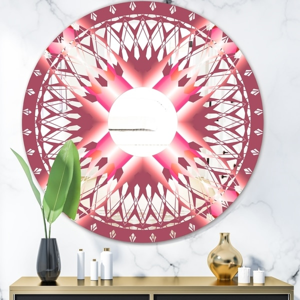 Designart 'Light Purple Sunburst' Mid-Century Mirror - Round Wall Mirror - Pink