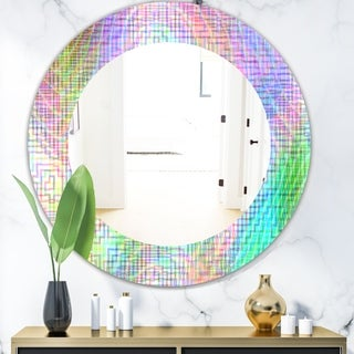 Designart 'Pastel Checkers' Mid-Century Mirror - Oval or Round Wall Mirror - Pink