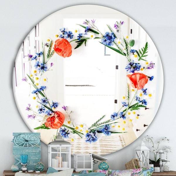 Designart 'Orange and Blue Flowers' Cabin and Lodge Mirror - Round Decorative Mirror - Red