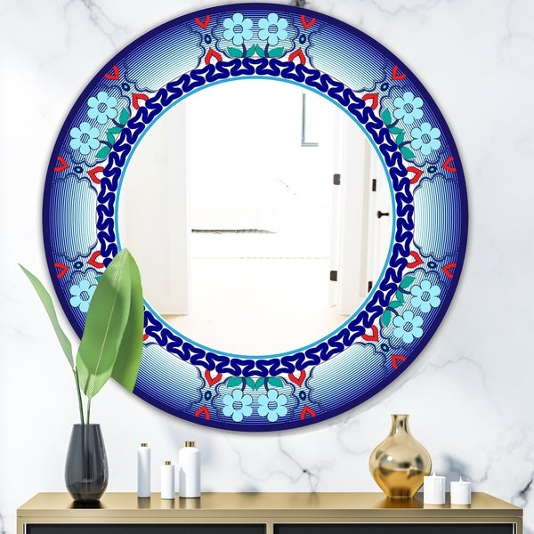 Designart 'Royal Blue Flowers and Zigzags' Mid-Century Mirror - Oval or Round Wall Mirror
