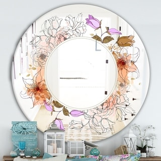 Designart 'Sale With Flowers' Farmhouse Mirror - Oval or Round Wall Mirror - Purple