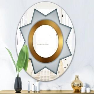 Designart Silver Star Glam Mirror - Oval or Round Wall Mirror - Grey (Oval - 23.7 in. wide x 31.5 in. high)